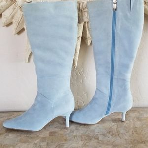 Baby Blue Suede Boots NWOT